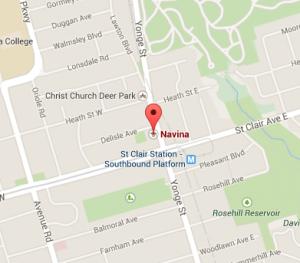 Navina location: 1498 Yonge st Toronto.