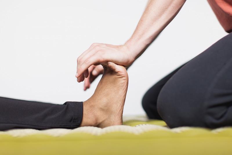 foot massage and walking